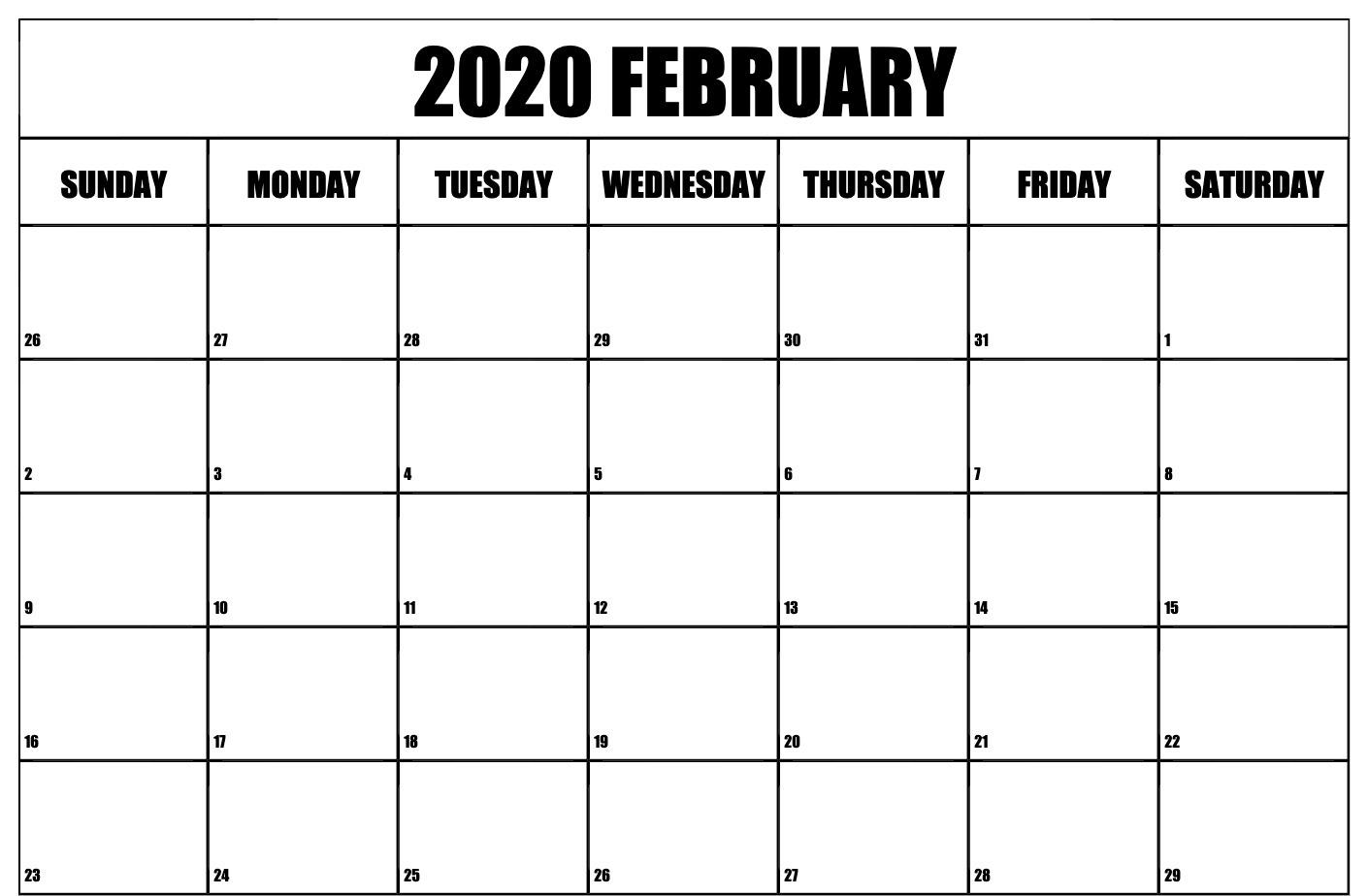 2020 February Calendar Editable