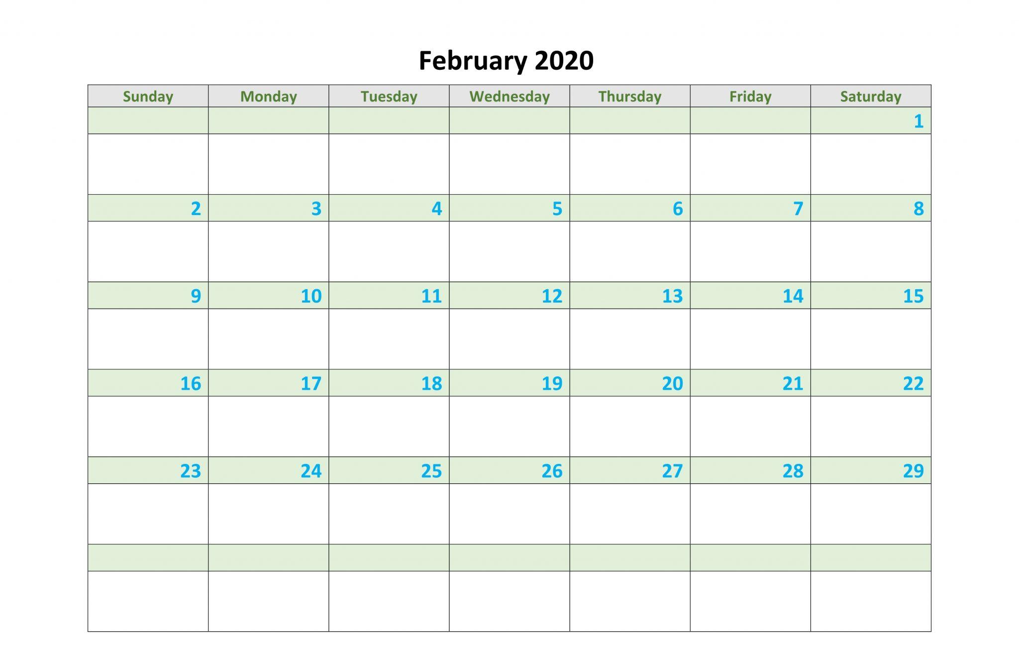 2020 February Calendar Excel