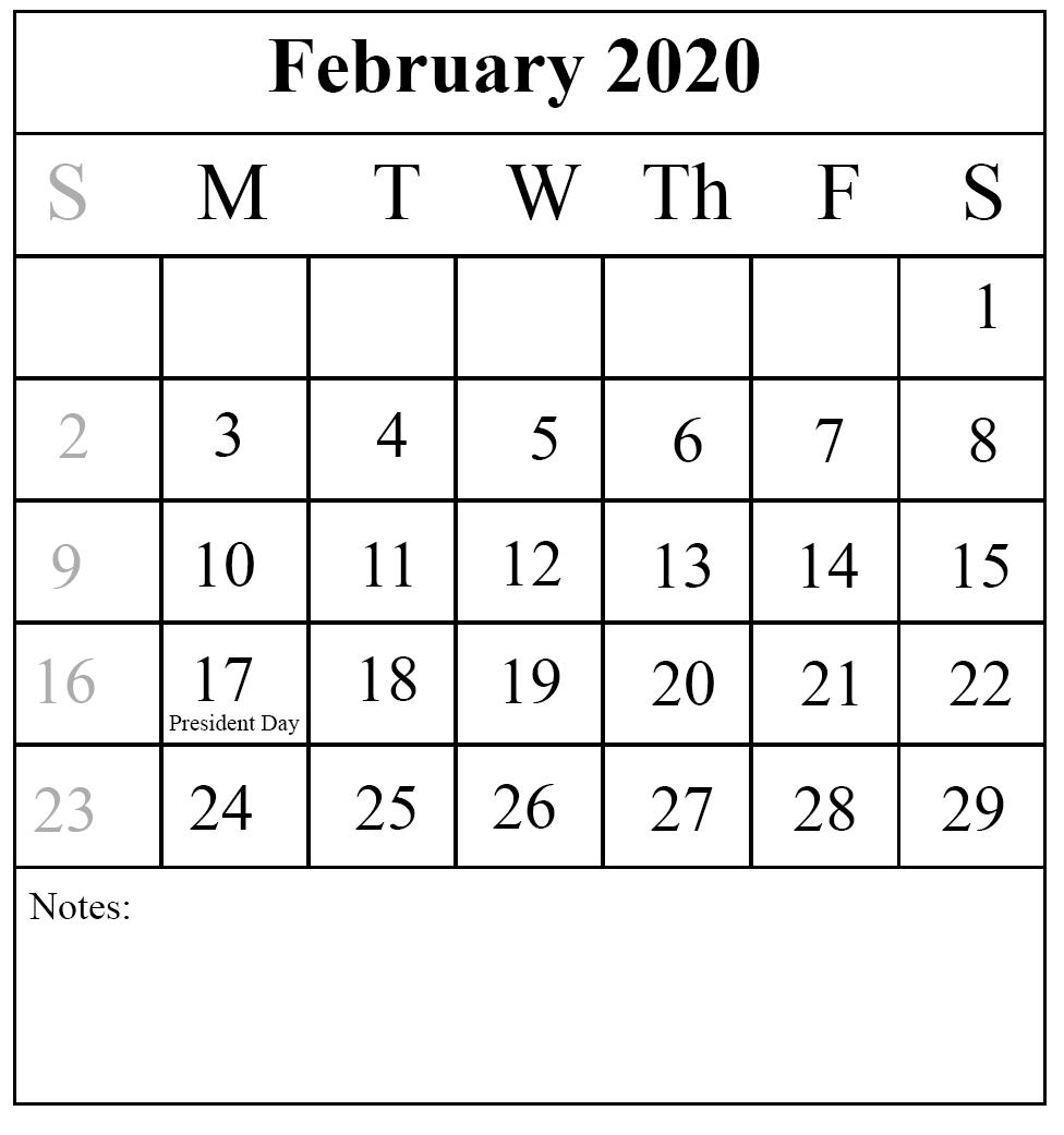 2020 February Calendar Portrait