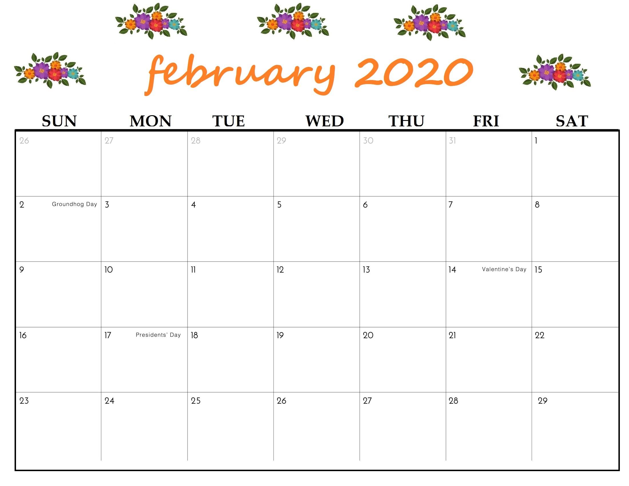 2020 February Calendar Printable Cute