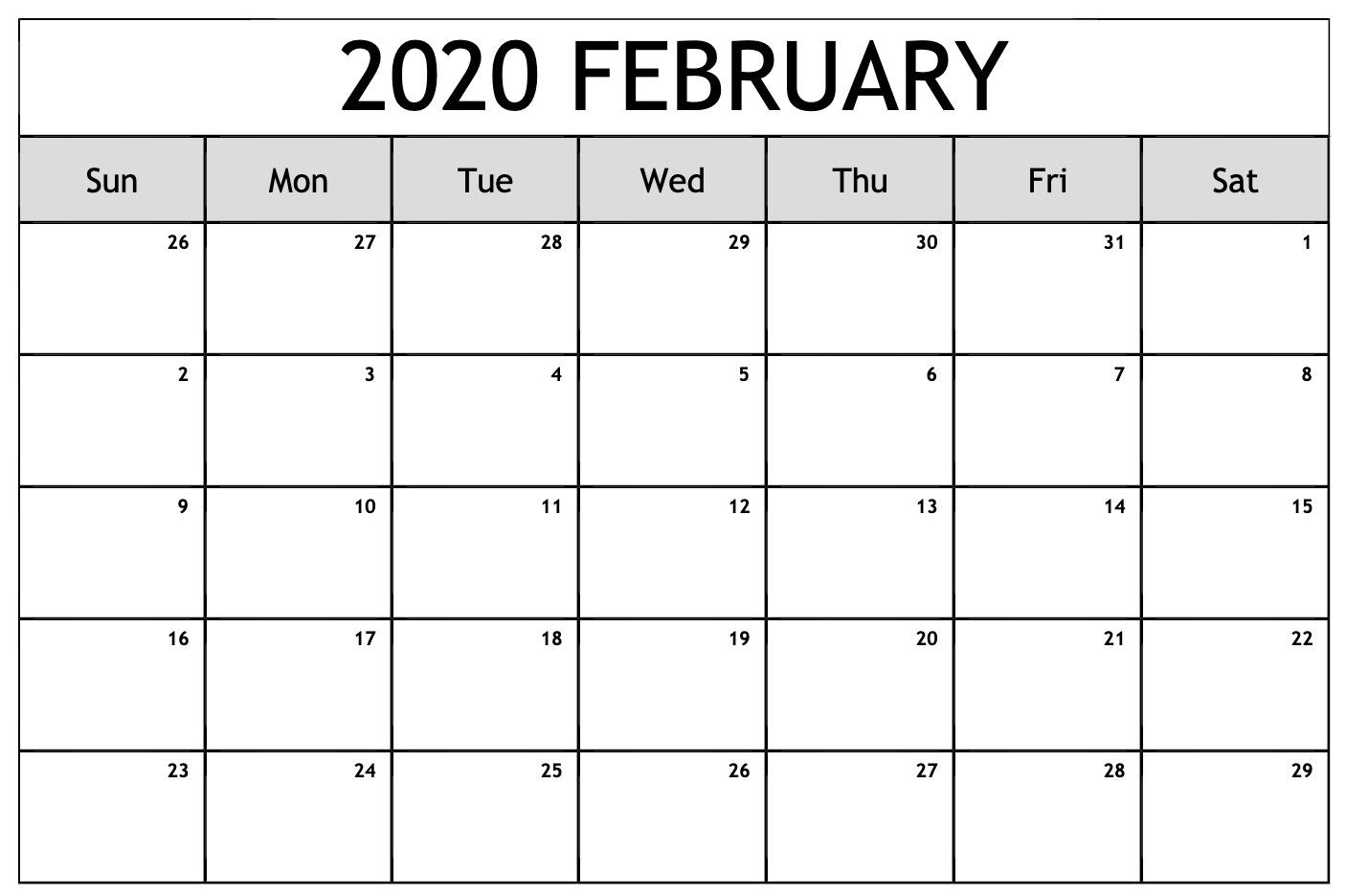2020 February Calendar Printable PDF