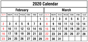 2020 Feb2020 February March Calendarruary March Calendar