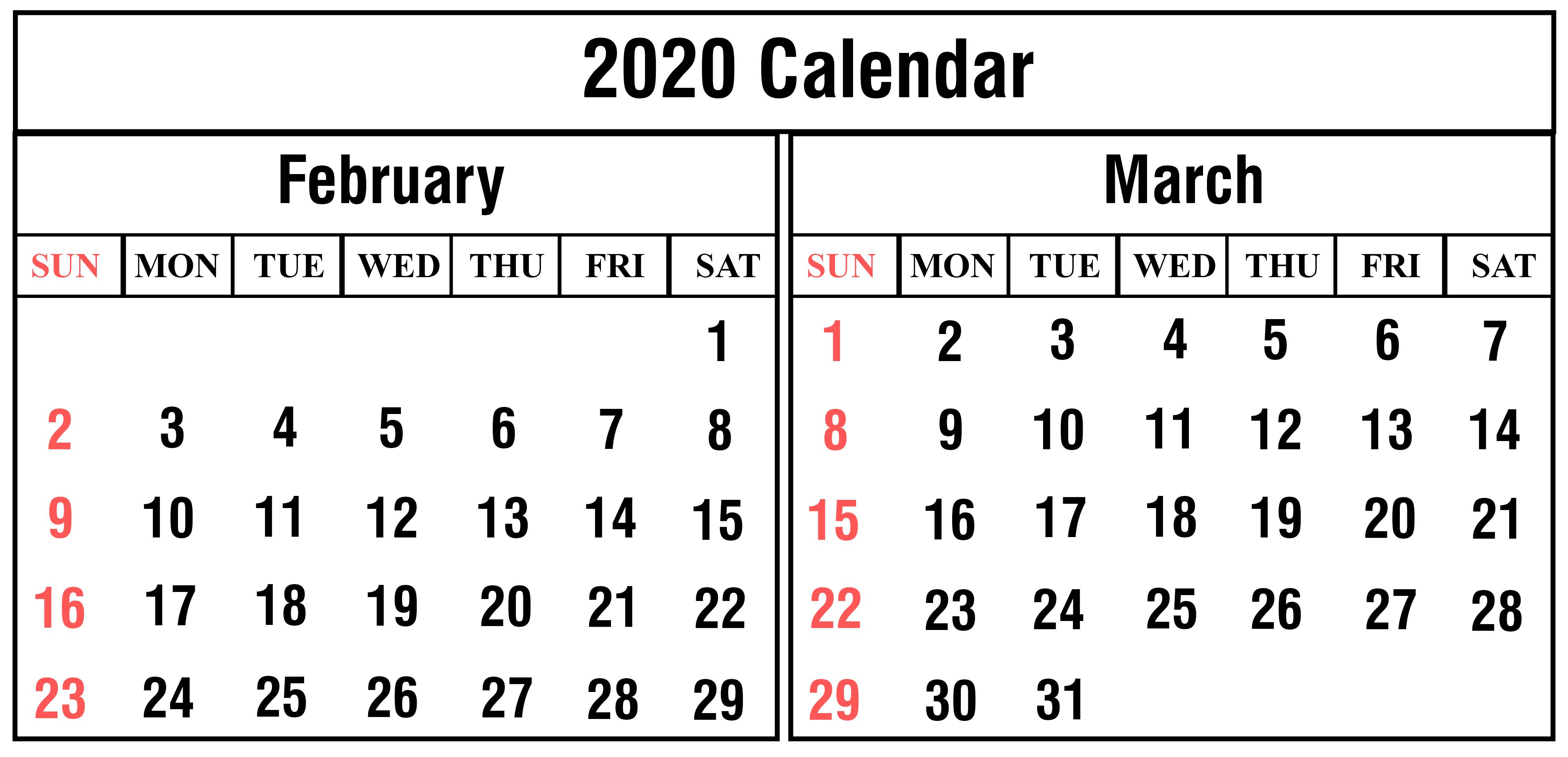 2020 February March Calendar Printable