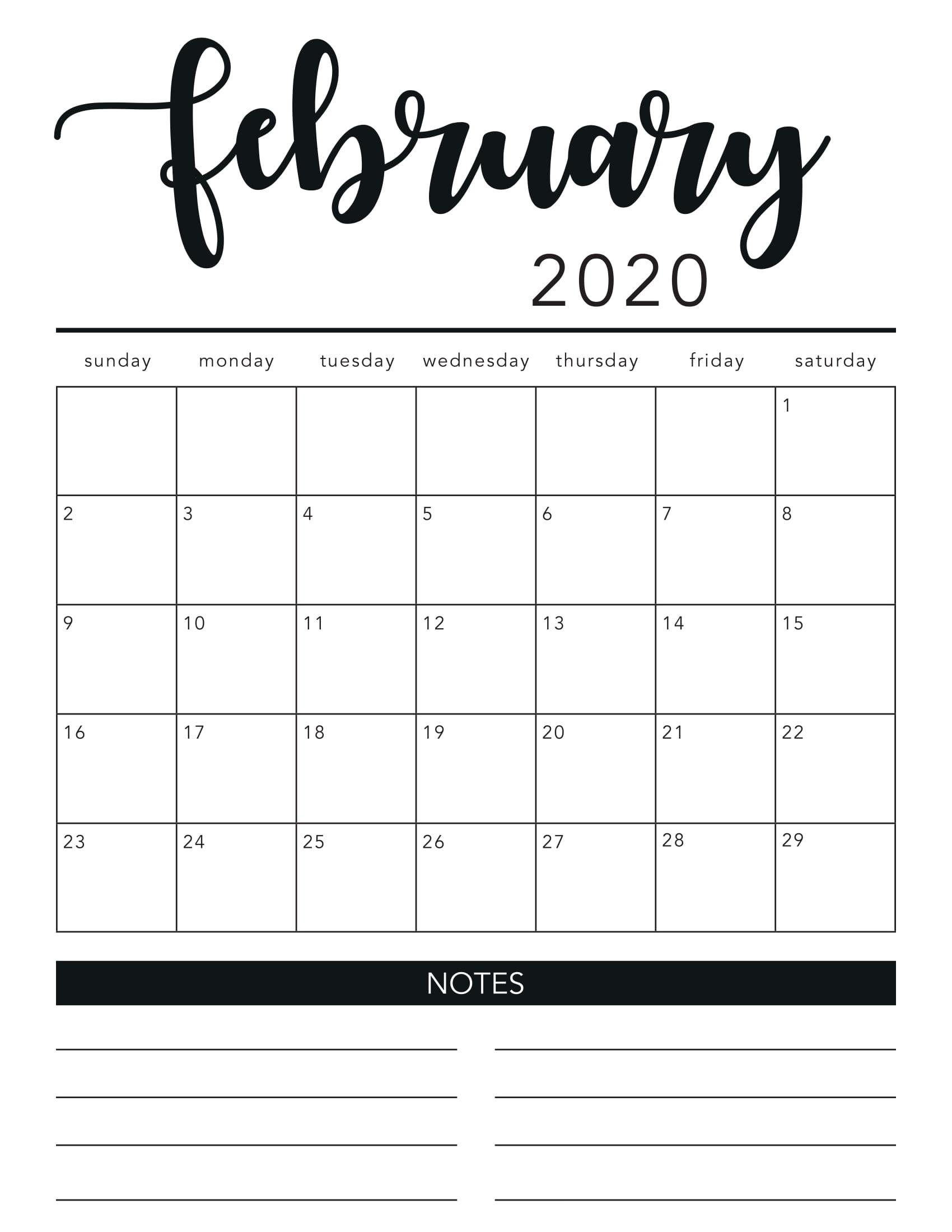 2020 February Wall Calendar