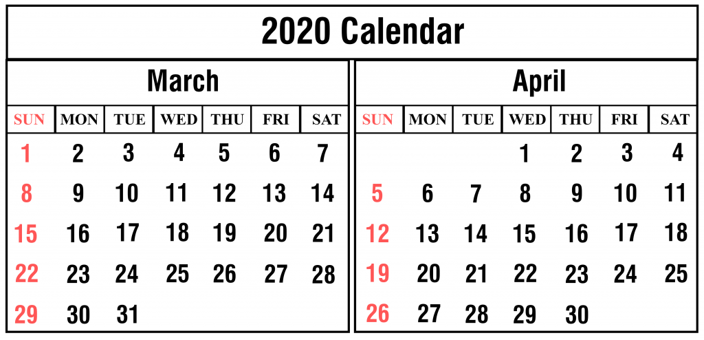 2020 March April Calendar Printable