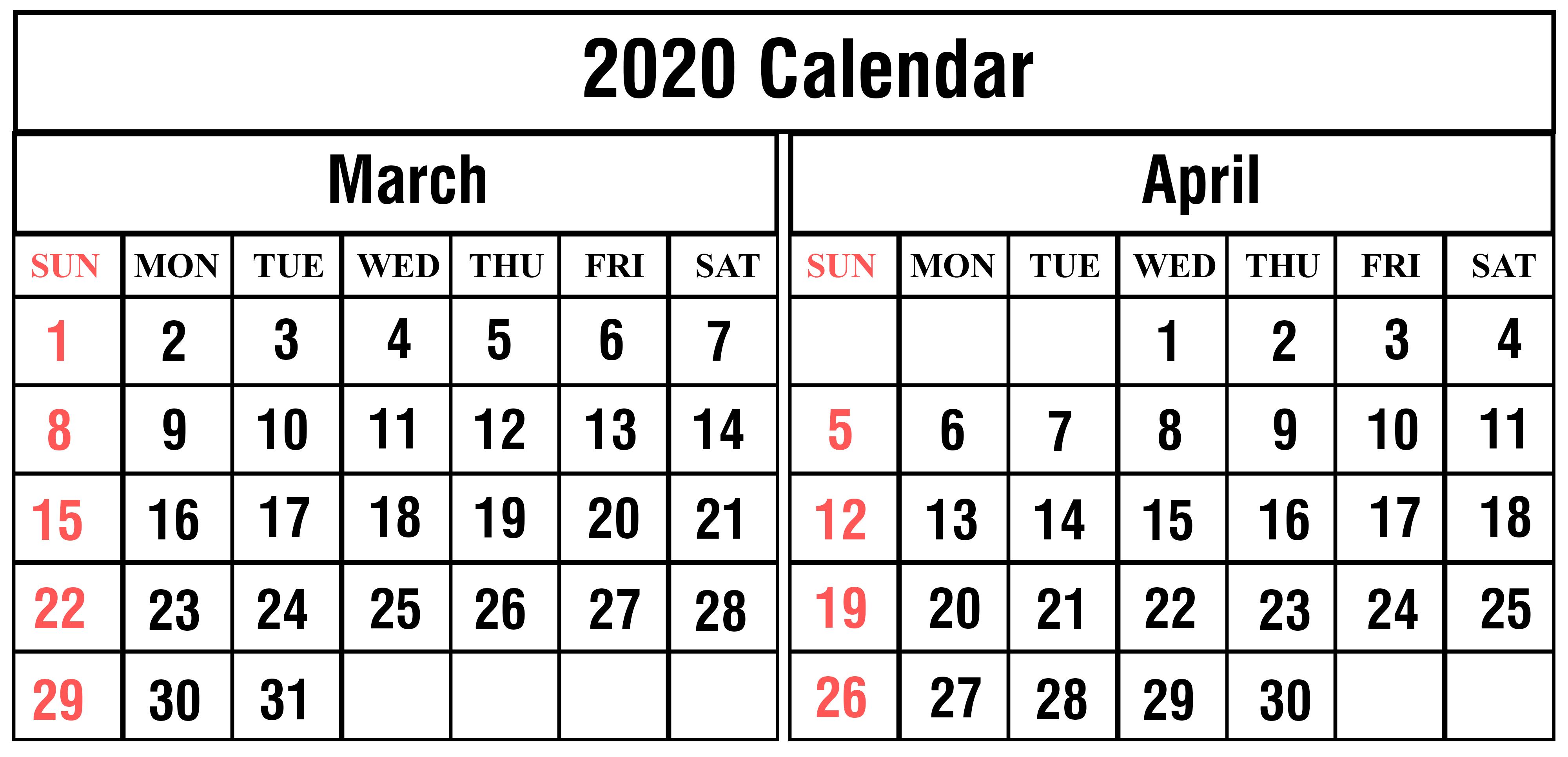 2020 March April Calendar