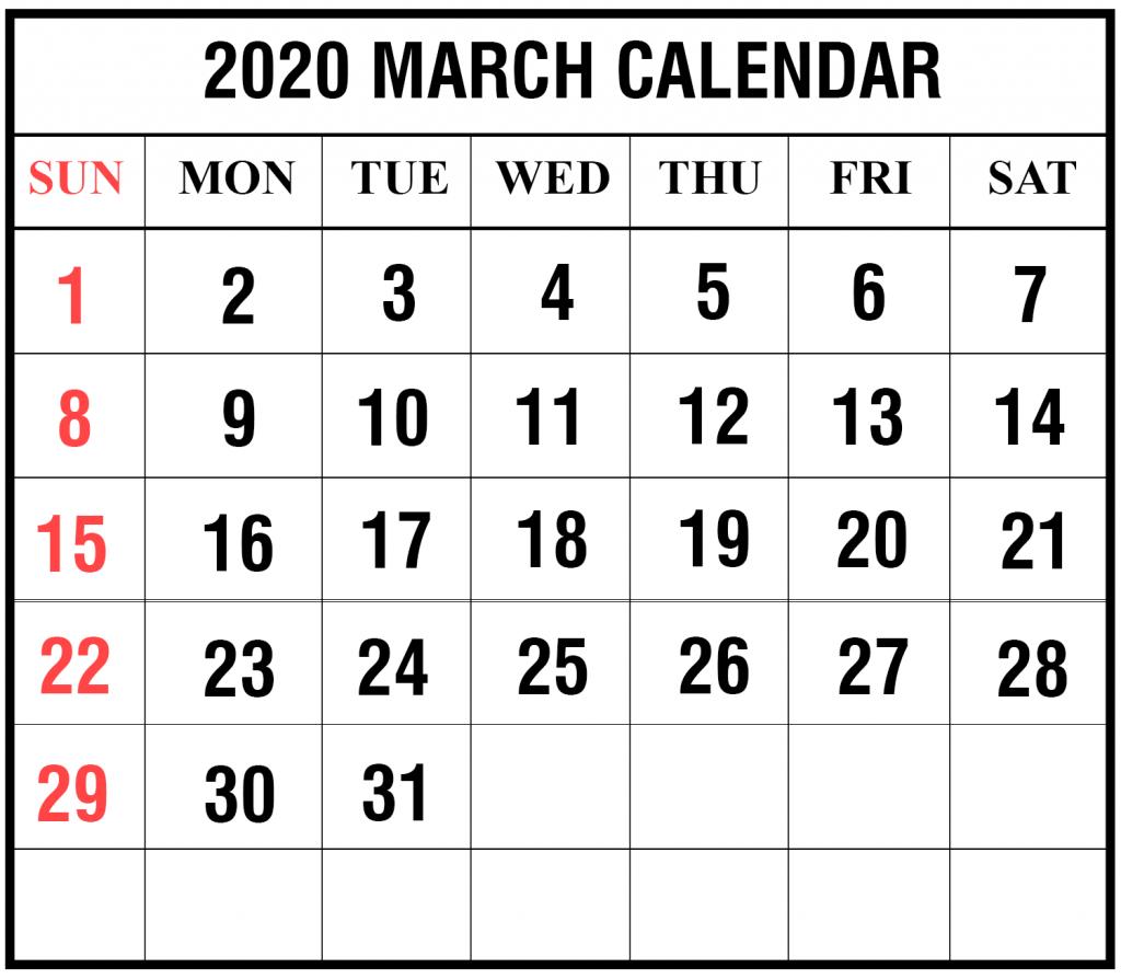 2020 March Printable Calendar