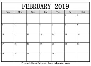 Blank 2019 February Calendar