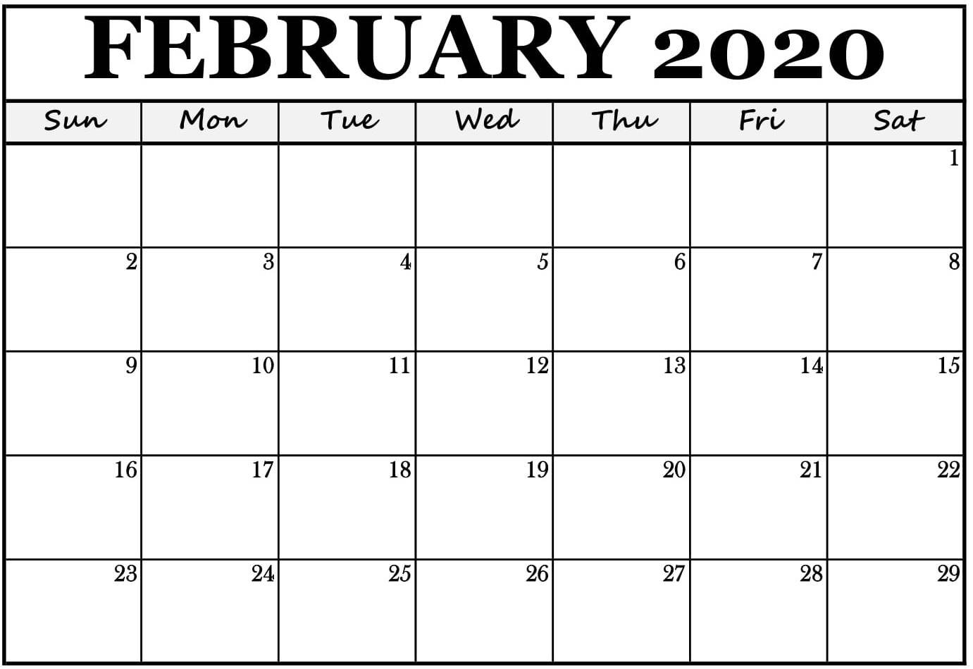 Blank Calendar Pages February 2020