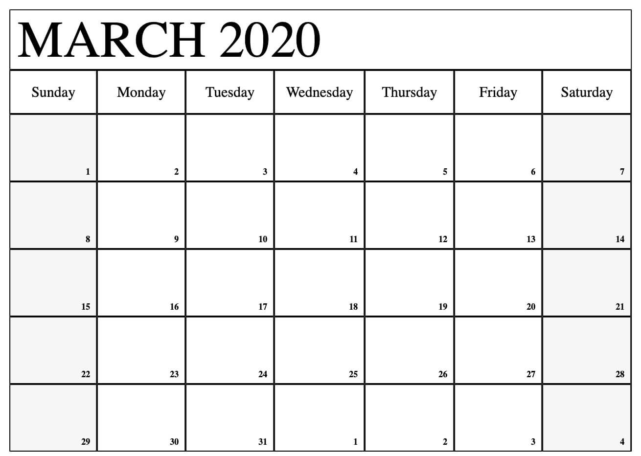 Blank Calendar Pages March 2020