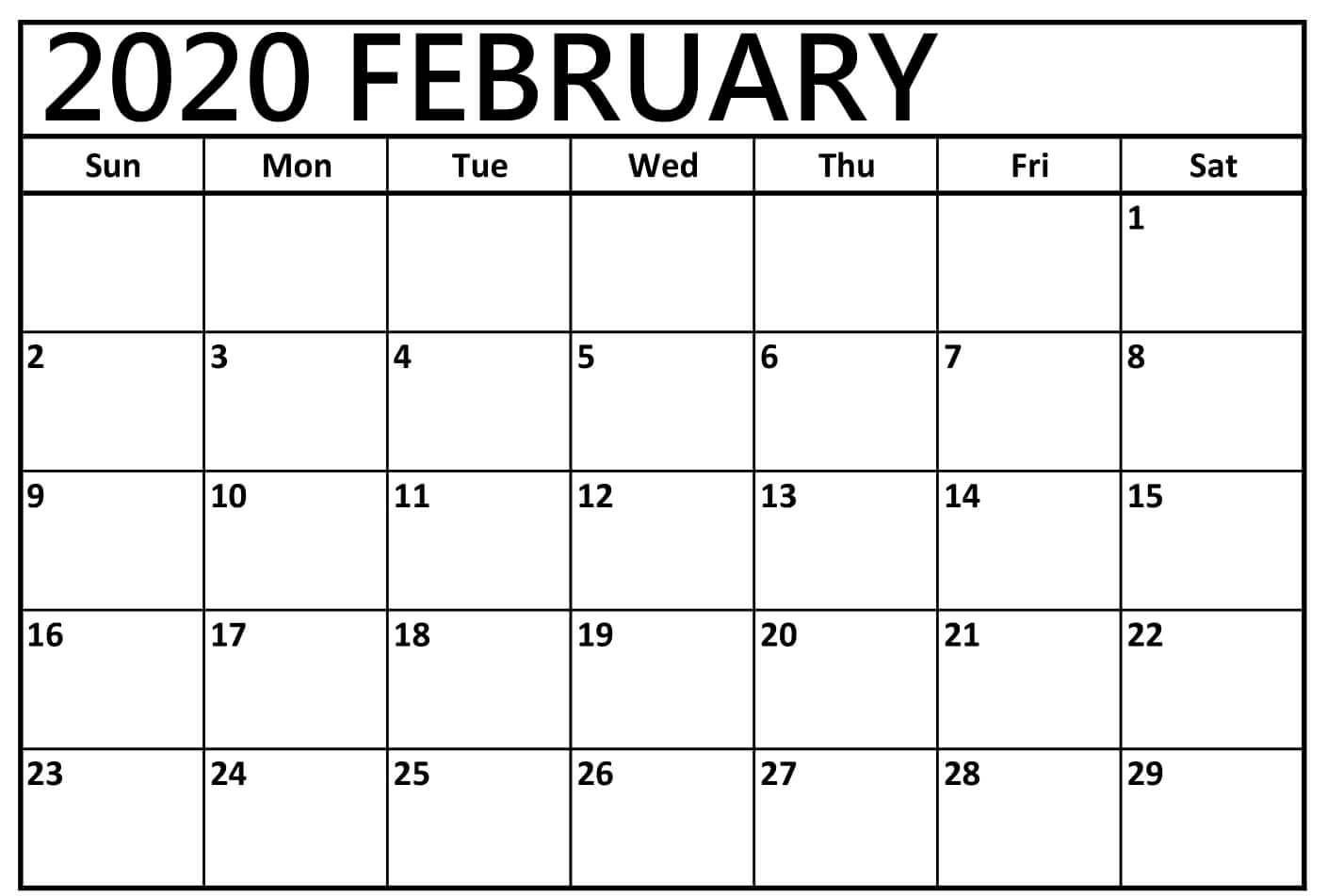 Blank Calendar Template February 2020