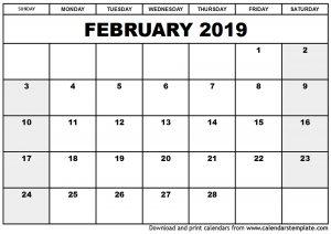 Blank Feb 2019 Calendar Templates