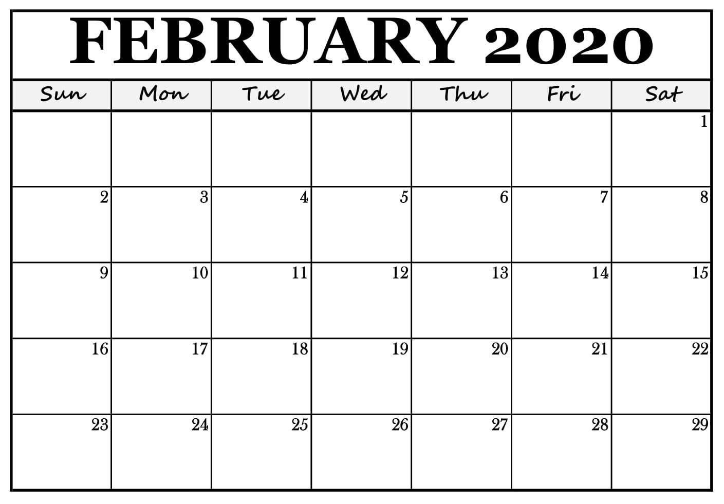 Blank Feb 2020 Printable Calendar