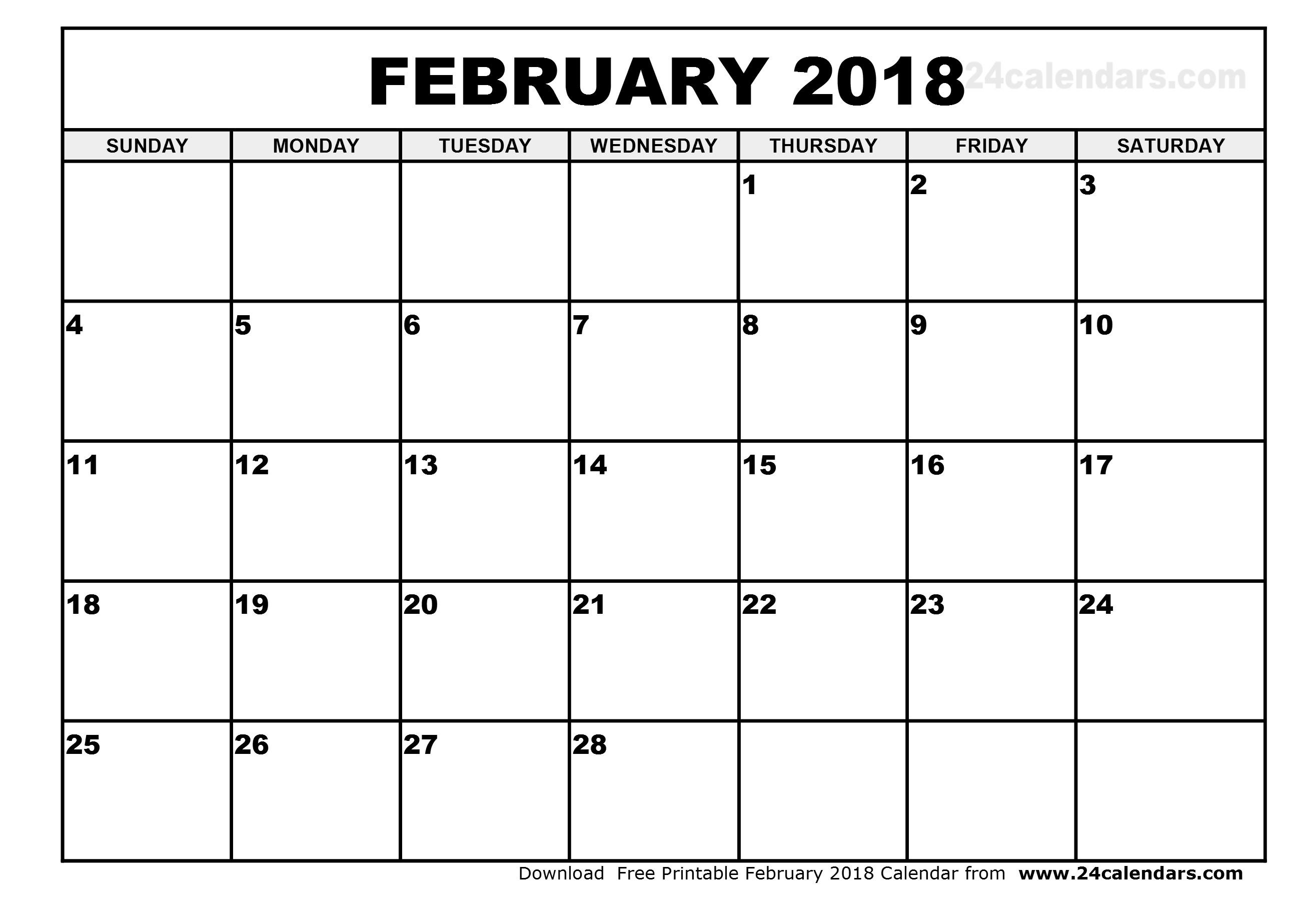 Blank February 2019 Calendar Printable Template