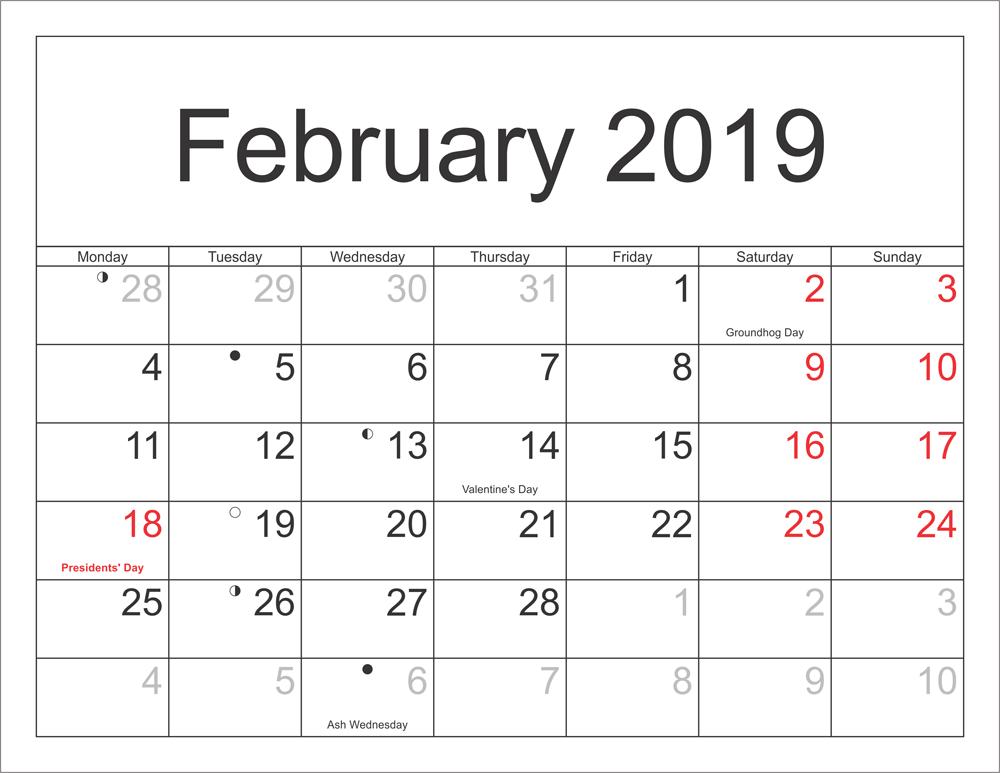 photo relating to Feb Calendar Printable referred to as Blank February 2019 Calendar Printable - Free of charge Printable