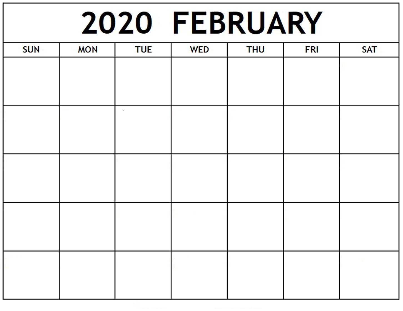 Blank February 2020 Calendar Editable