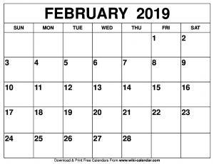 Blank February Calendar 2019 Printable