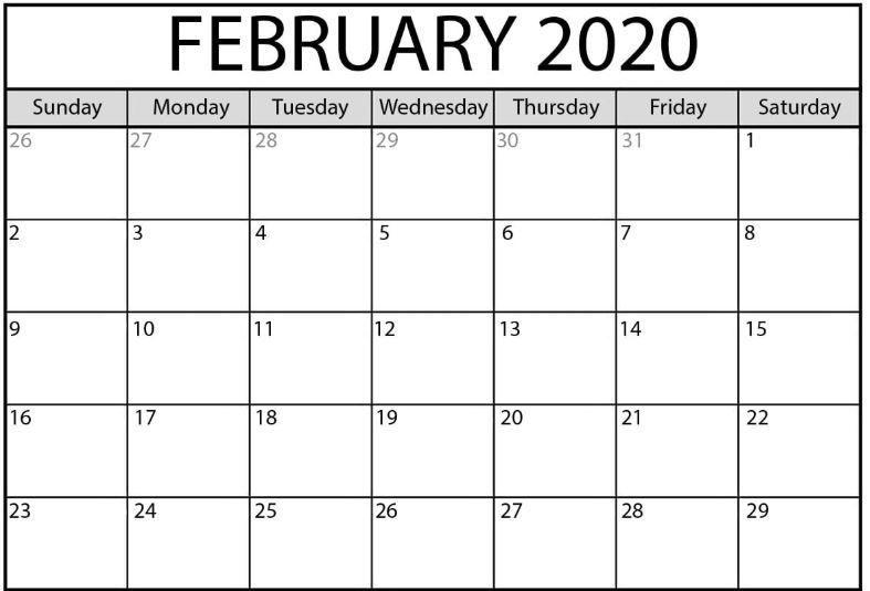 Blank February Calendar 2020