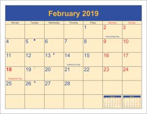 Blank February Monthly Calendar 2019