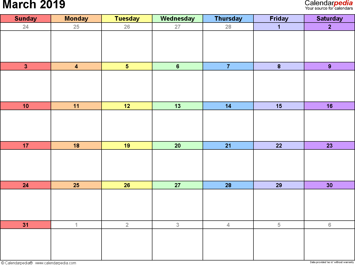 Blank March 2019 Calendar for Word