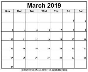 Blank March Calendar 2019