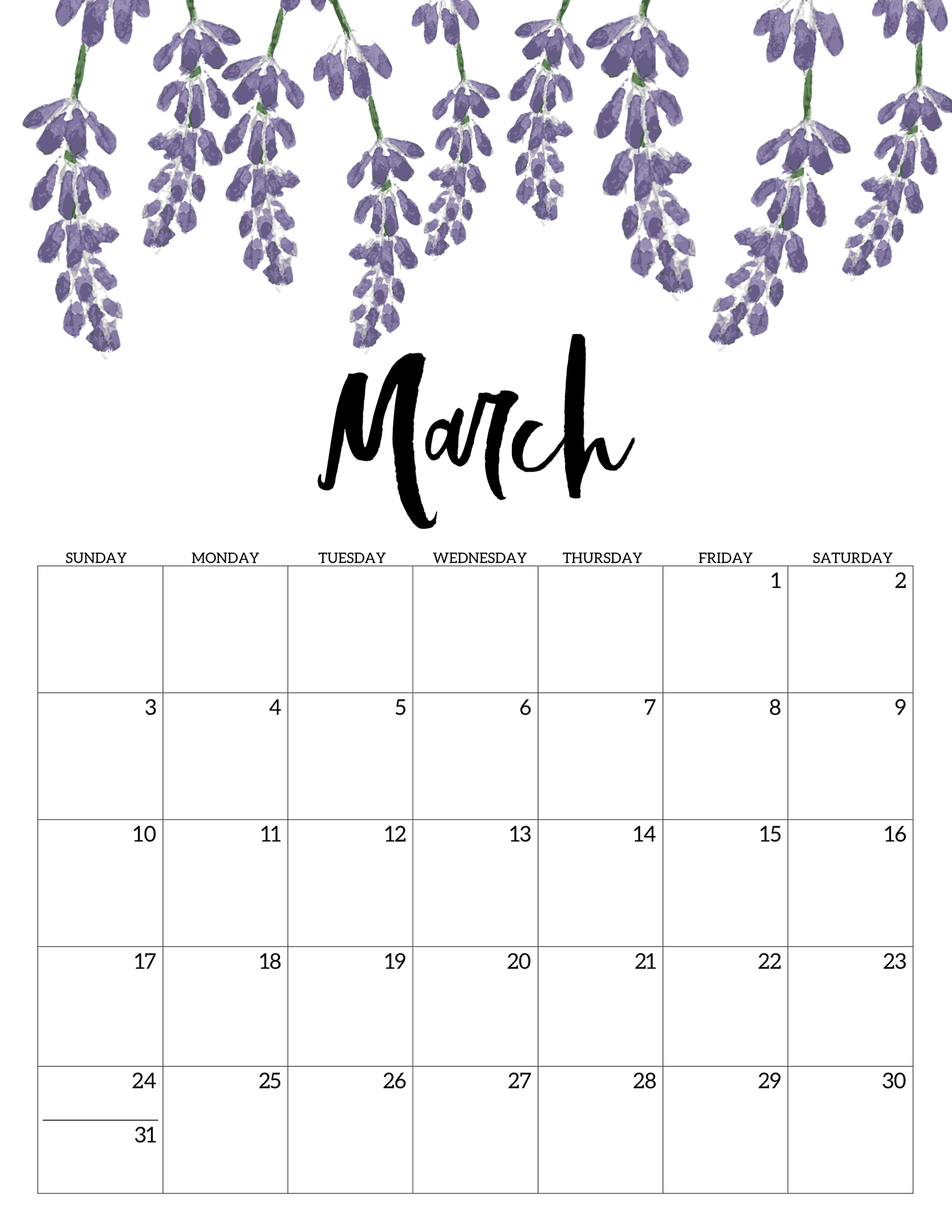picture relating to Free Printable March Calendar referred to as Blank March Calendar 2019 PDF - Absolutely free Printable Calendar