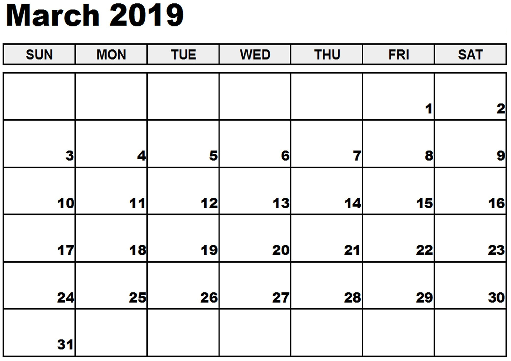 Blank March Calendar 2019 PDF Monthly Weekly Planner