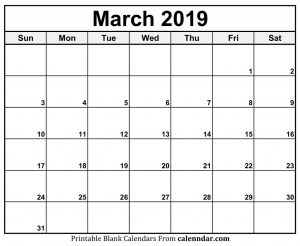 Blank March Calendar 2019 Planner