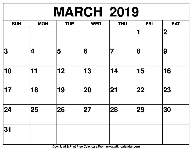 Blank March Calendar 2019 Printable