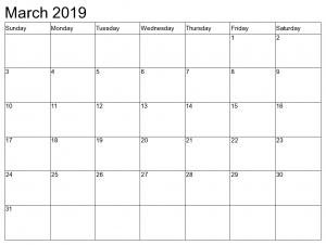 Blank March Calendar 2019 To Do List