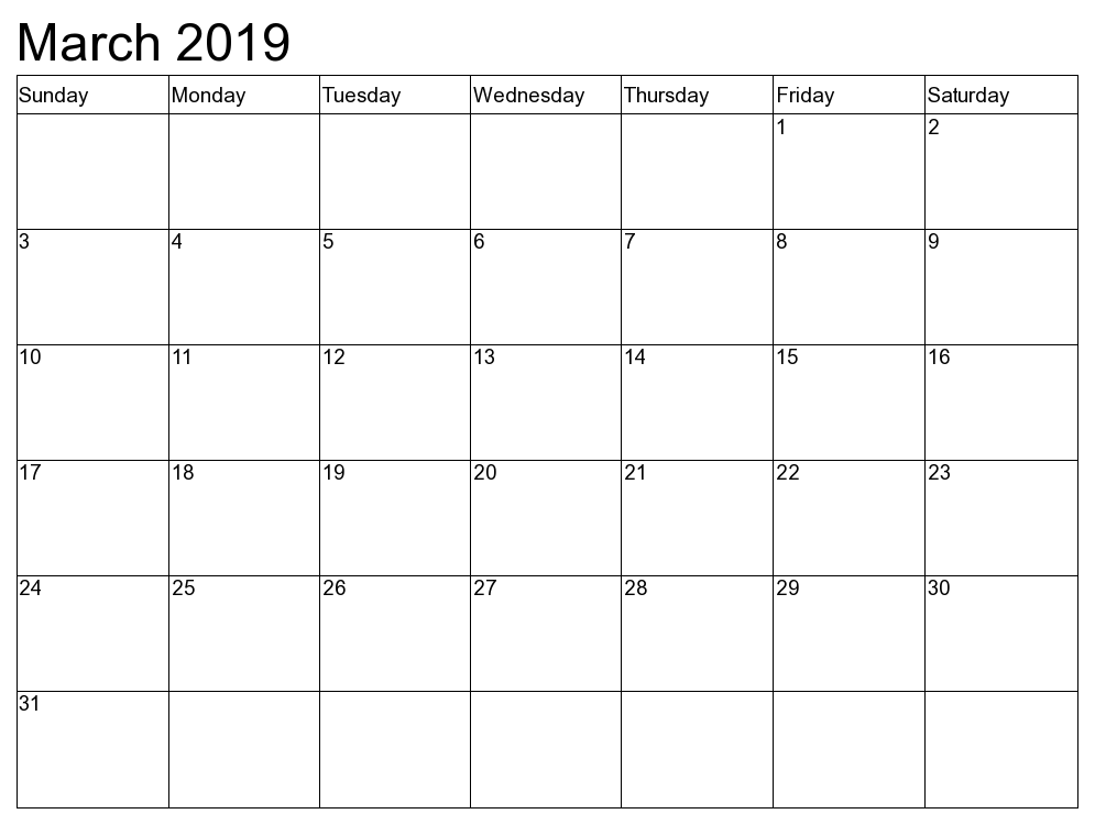 Blank March Calendar 2019 To Do List