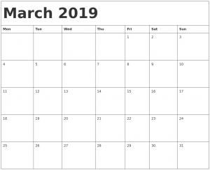 Blank March Calendar 2019 Weekly Planner