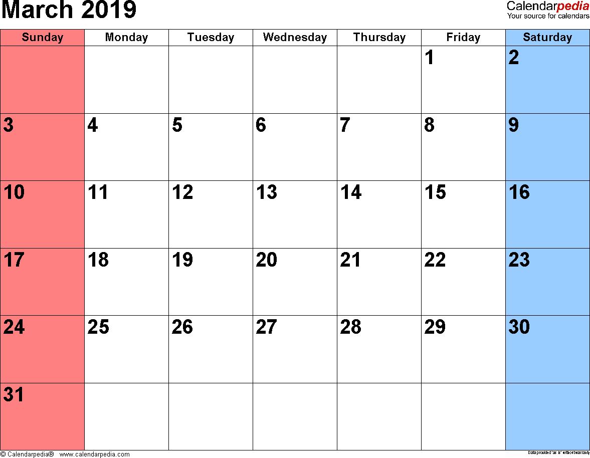 Blank March Calendar 2019 Word