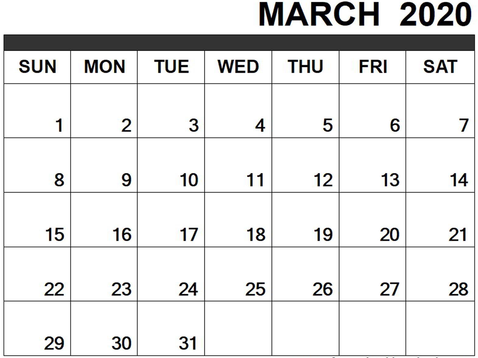 Blank Monthly Calendar March 2020