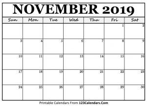 Blank November 2019 Calendar Template