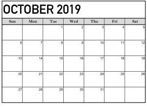 Blank October 2019 Calendar