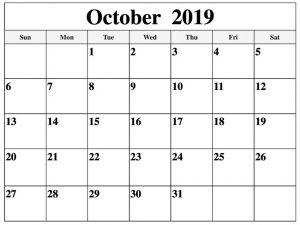 Blank October 2019 Calendar Printable