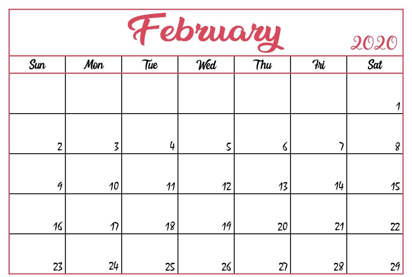 Cute February Printable Calendar 2020