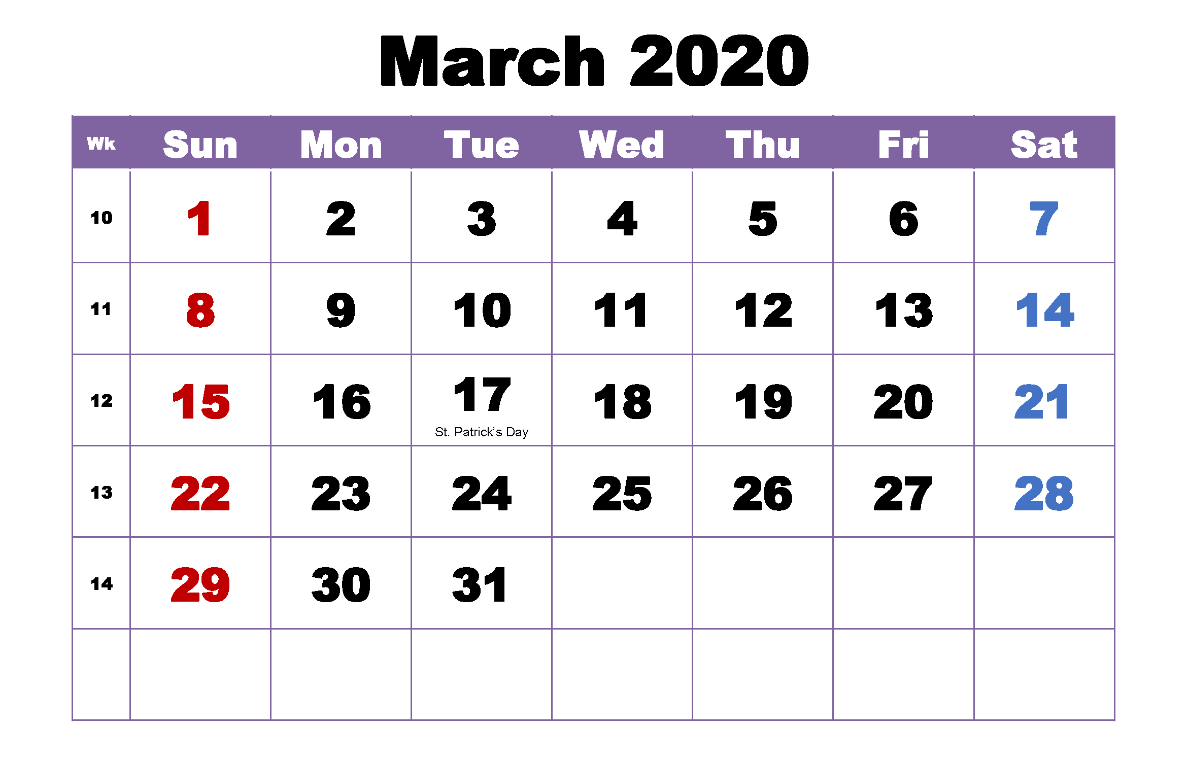 Cute March 2020 Calendar Printable Decorative