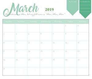 Cute March Calendar 2019