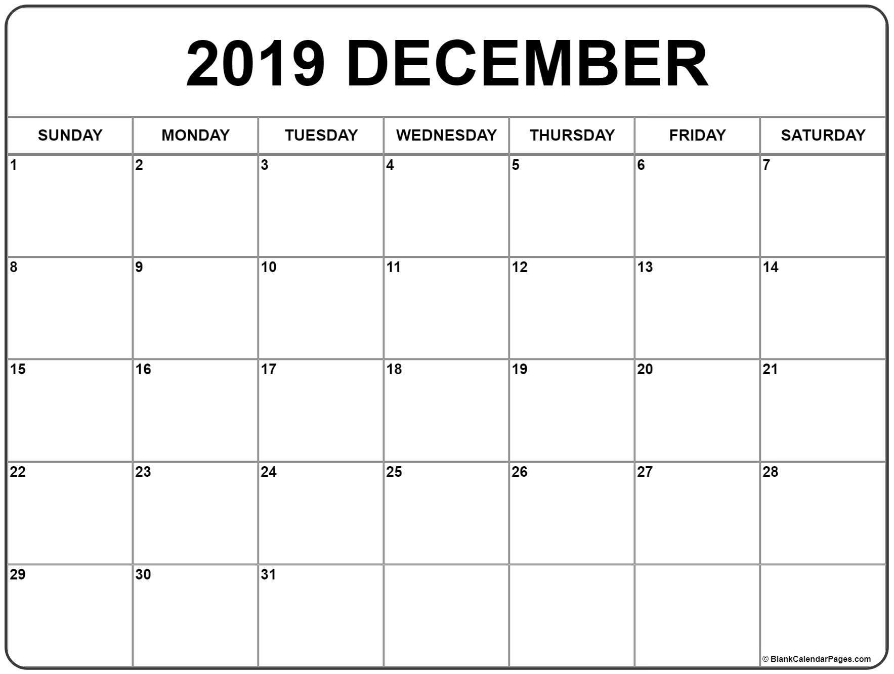 December 2019 Blank Calendar Template