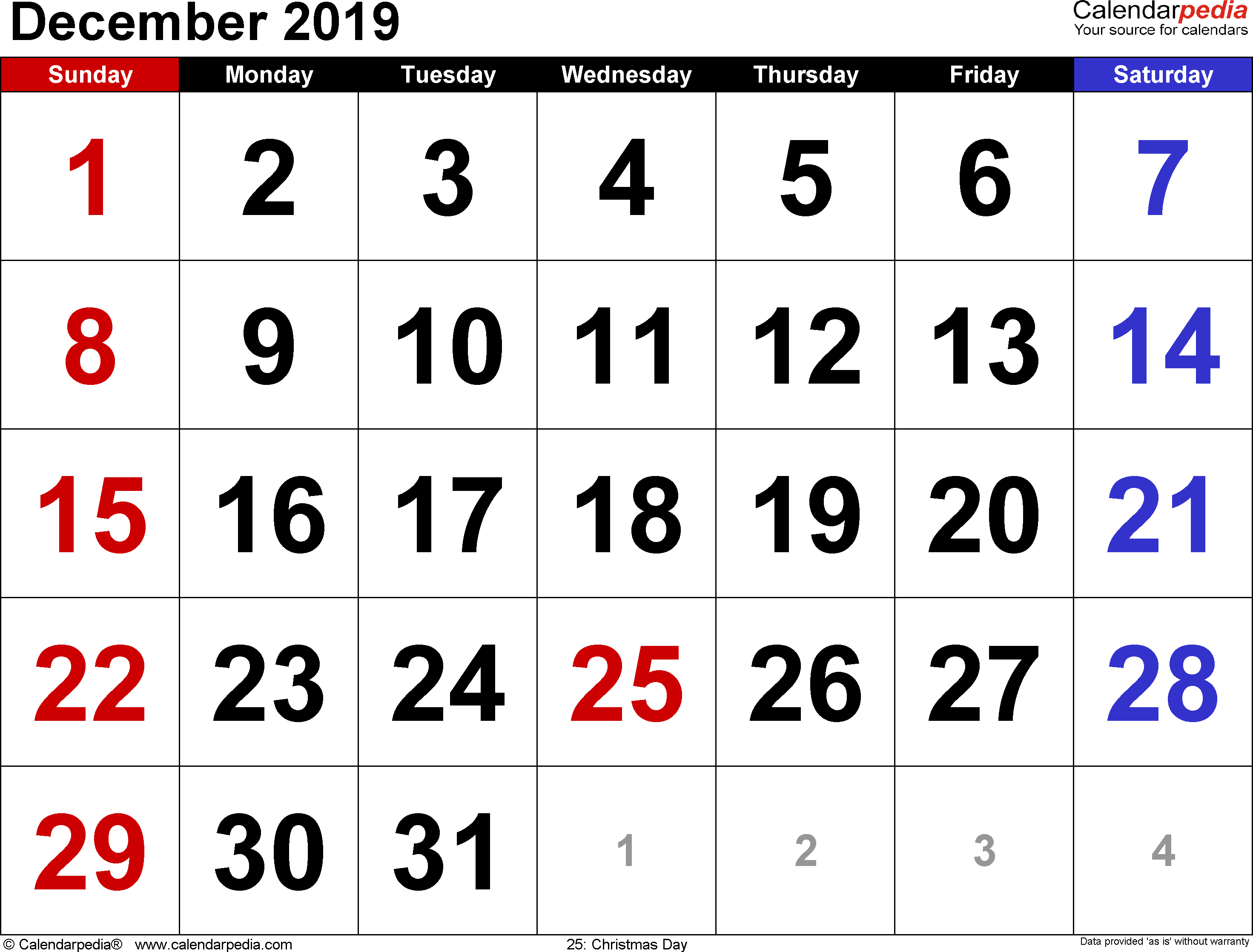 December 2019 Calendar Templates