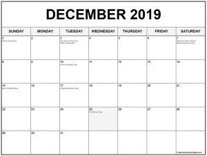 December 2019 Calendar With Holidays