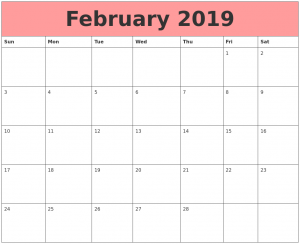 Download Template of February 2019