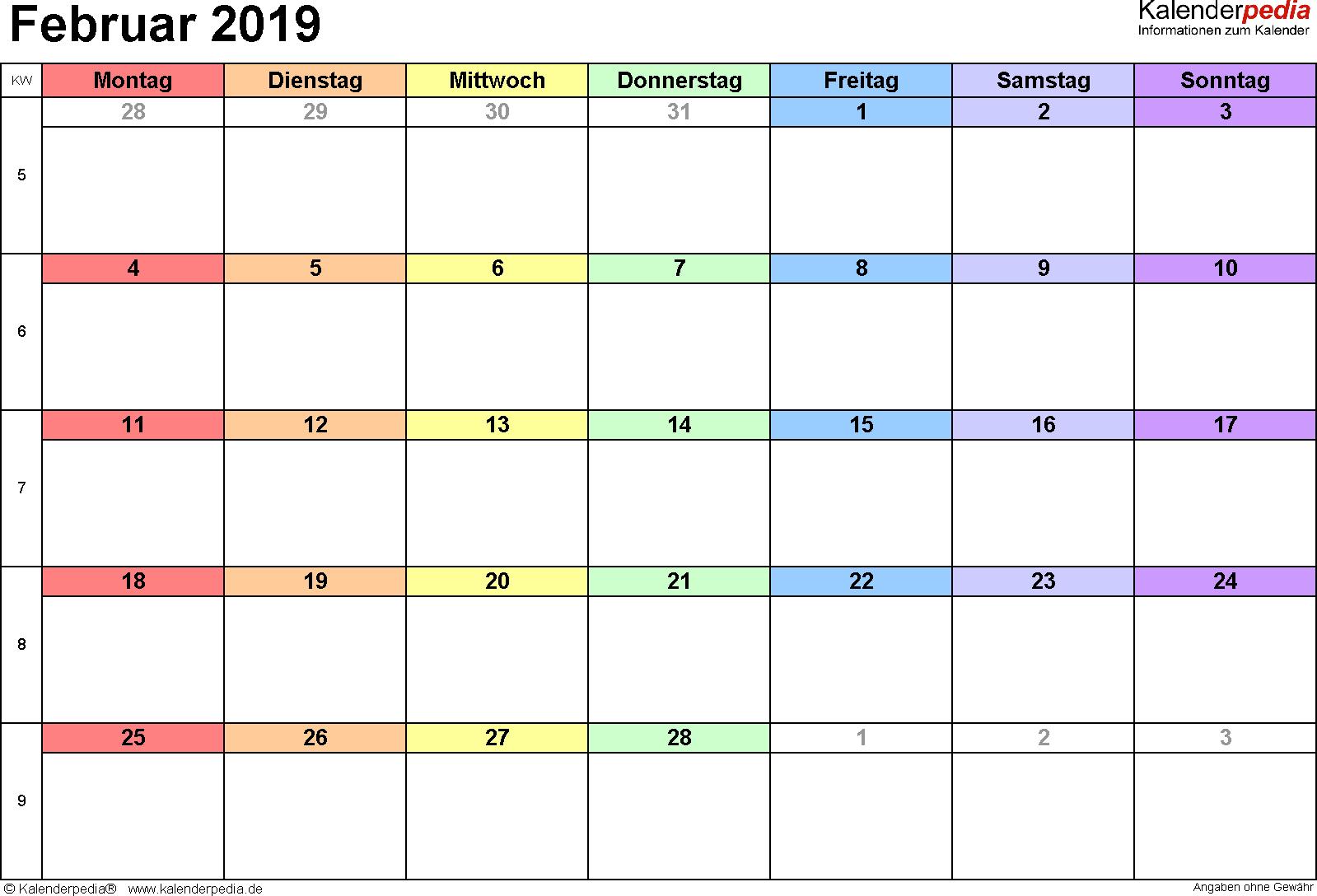 Druckbare Vorlagen für Februar 2019