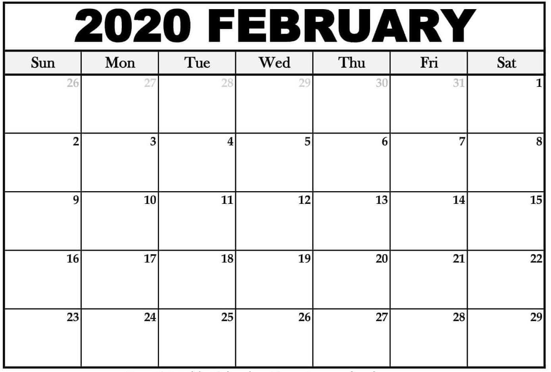 Editable 2020 February Calendar Word