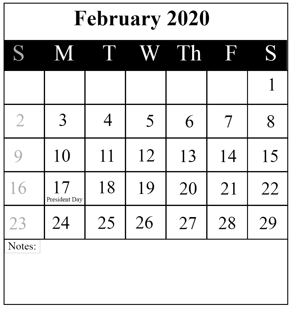 Editable Calendar Template Feb 2020