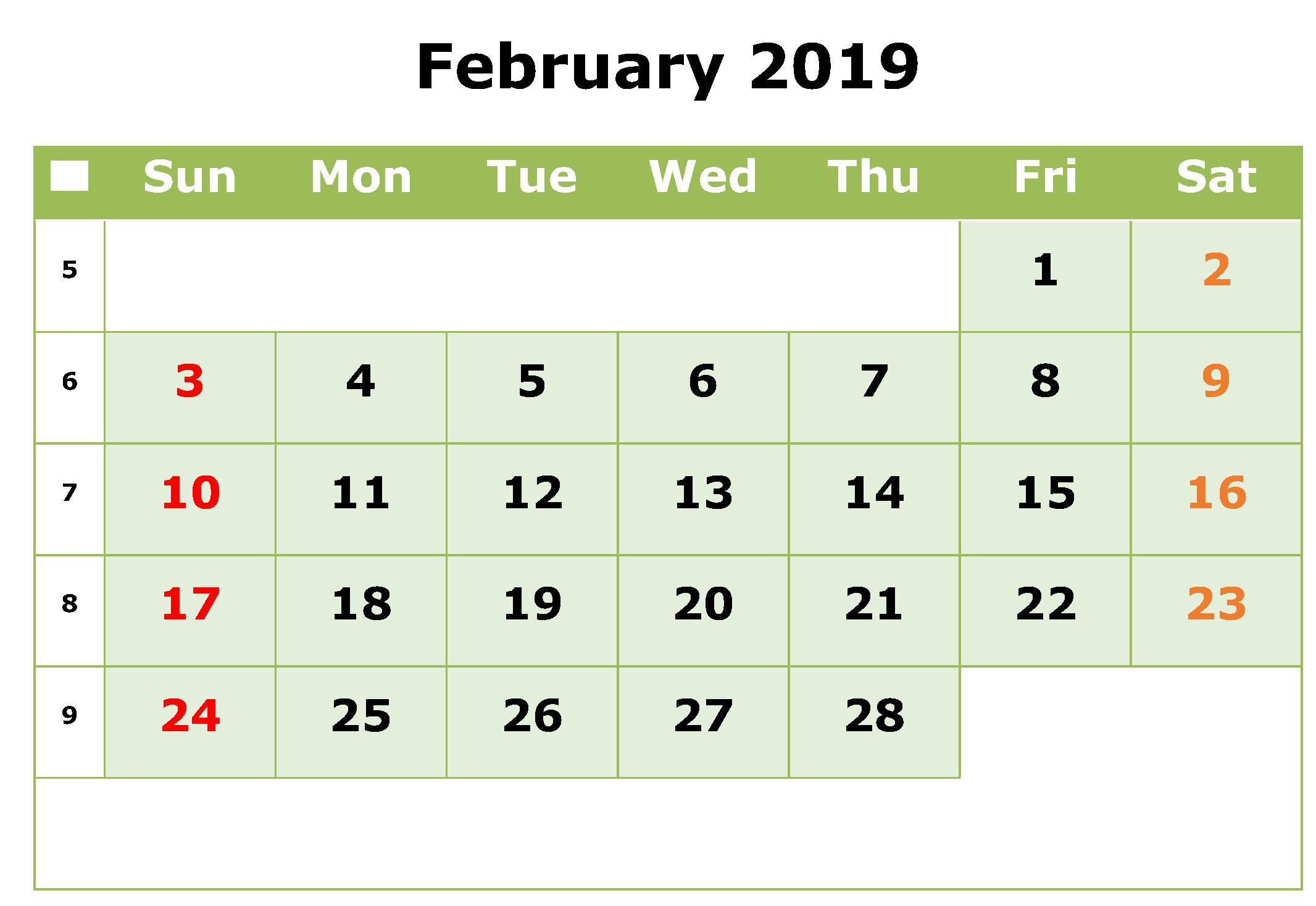 Editable February 2019 Calendar Free Printable