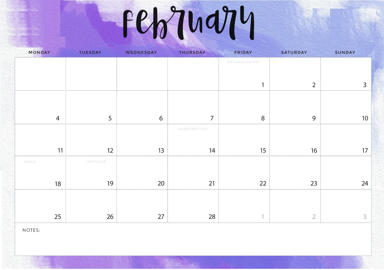 Editable February 2019 Calendar Landscape