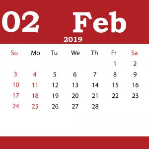 Editable February 2019 Calendar Portrait